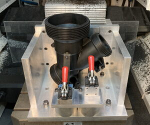 Valve body in machining fixture